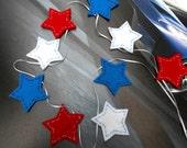 Patriotic Star Garland Handmade felt bunting banner, Red White Blue