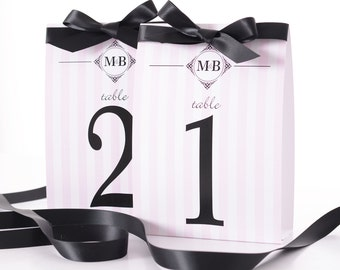 Striped Wedding Table Number Tent Cards - Stylish Wedding Table Markers - Striped Wedding Decor - Stylish Wedding Table Tents