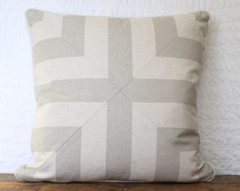 Natural and taupe cross pillow cover