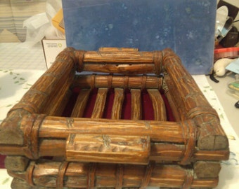 REDUCED  Log Basket or Box Held Together with Wicker Ties