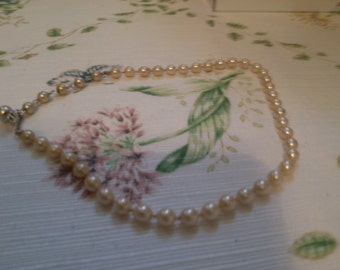 Faux Pearls with Extender and Rhinestone Hook