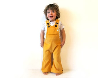 Yellow childrens dungarees SALE 15% bright sunshine cordoruy flared overalls girls boys baby retro colorful cords lemon flares pants spring