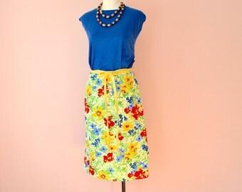 1970's Preppy Reversible Wrap skirt.  Marimeko Style Print.  Yellow Twill. Modern Small Medium -VDS187
