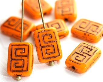 8pc Orange Rectangle czech beads, Black Inlays, Greek Key, Carved glass beads - 12x9mm - 0063