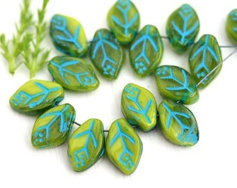 12x7mm Mixed Green Leaf beads, Blue Inlays, Light green Czech glass pressed leaves, top drilled - 25Pc - 1963