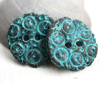20mm Round metal Buttons Green patina on copper button bead Rustic greek casting button for sewing, Lead Free - F390