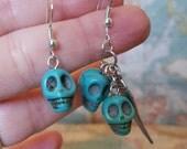 Blue Howlite Mis-Match Skull Earrings.  Boho Rock Chic