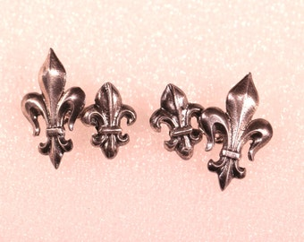 Antique French Sterling Fleur De lys Cuff Links Large For Him Stamped