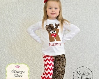 Christmas Initial Reindeer Pajamas-Personalized for Baby, Toddler and Children - Applique included