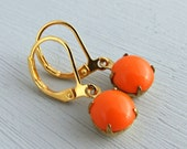 Orange Glass Earrings .. orange earrings, neon orange, tangerine earrings, dangle earrings, bright earrings, colourful