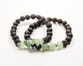 Fourth Chakra - 4th Chakra - Heart Chakra - Anahata - Love - Compassion - Aventurine & Lava bracelet - Essential Oil diffuser
