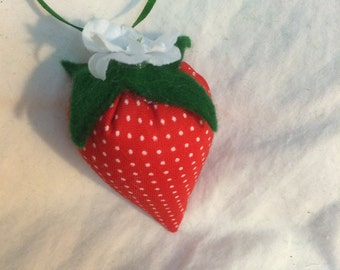 "Forever Fresh Fabric Strawberry - 2"" Big Ornament or pin cushion - Handmade"