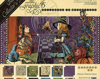 Graphic 45 Halloween In Wonderland Deluxe Collection, Includes 2 Sets of 12 Double Sided Papers, 1-Set of Chipboard Tags, 1-Sticker Set