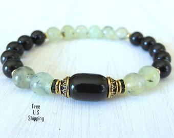 Rainbow Obsidian, Yoga bracelet, Prehnite, Meditation bracelet, Reiki, wrist mala, energy bracelet, healing bracelet, mala bracelet