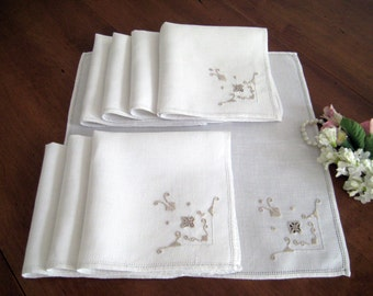 8 Vintage Italian Linen Napkins - White with Taupe Embroidery - Reticella Lace