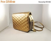 CLOTHING SALE Vintage Purse Quilted 80s 90s Metallic Gold Bronze Pewter Attached Mini Wallet & Mirror