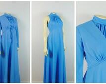 Vintage Dress 60s 70s Sky Blue Full Length Formal Dress & Jacket Hi Neck Sleeveless Bias Cut Prom Dress Metal Zipper 30s Style Modern Small