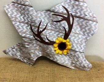 Corrugated tin decopauged Texas sign