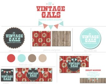 10 Piece Custom Branding Package Premade Logo w/ Watermark Shabby Chic Wood Vintage Bunting with Floral