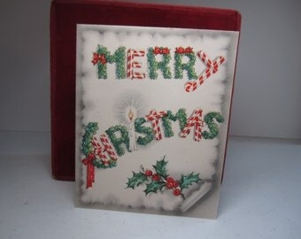 Colorful unused 1940's-50's christmas card merry christmas spelled out in candy canes and holly berry,candle
