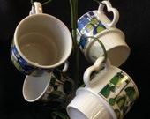 Retro Stackable Coffee Mugs - Blues, Greens - with mug stand