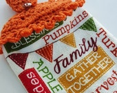 Crochet Top Fall Decoraion Hanging Dish Towel Thanksgiving Halloween Holiday Kitchen