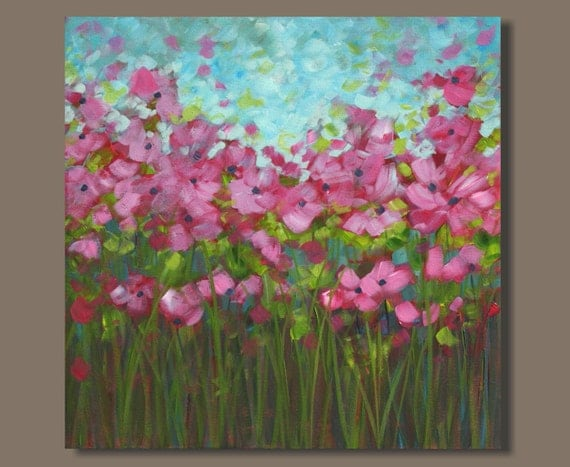 Pink Abstract Canvas Art: FREE SHIP Canvas Art Pink Flowers Painting Abstract