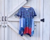 Reserved........lagan style XL-XXL blue patchwork dress, dress Hippie dress Patchwork rustic upcycled clothing