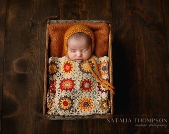 SALE - Newborn Baby Blanket, Cotton Blankets, Photo Prop, Sand, Orange, Red, Brown, Yellow, Fall Blanket, Ready To Ship