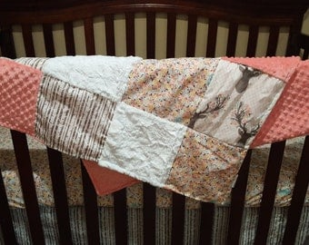 Baby Girl Crib Bedding - Tulip Fawn, Meadow Flowers, Pebble Birch, and Coral Crib Bedding Ensemble with Blanket or Patchwork Blanket