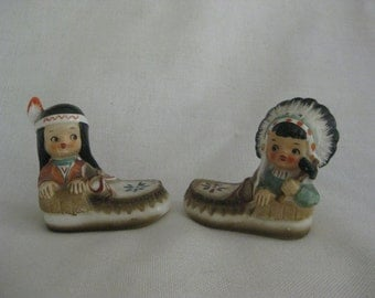 Vintage Indian in Moccasins Salt and Pepper Shakers