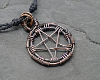 Pentacle necklace wire wrapped oxidized copper