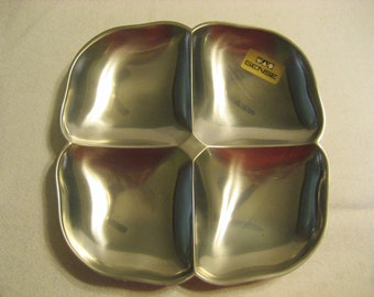 Gense 18/8 Stainless Steel Divided Dish Vintage 1960s Made in Sweden Mid Century Mod Clover Leaf Shaped Dish