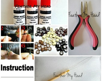 Feather Hair Extension Tool Kit: Threading Tool,  Tri Clamp Pliers, 25 Bead Mix, Feather Bonding Glue, Instructions *Discounted Price*