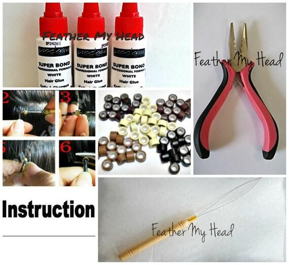 Tri Mix Kit : Feather hair extension tool kit threading tri clamp