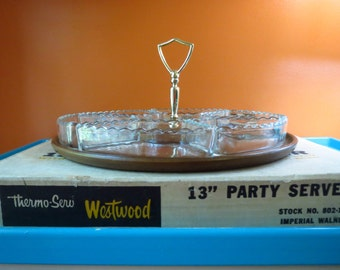 Vintage 1970s Retro Thermo-Serv Westwood NIB Glass hor d'oeuvres Party Server Tray