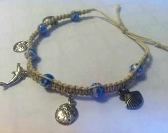 Bracelet, Hemp Bracelet, coastal charms, gift for her, gifts under 20, handmade, adjustable, boho, gifts, natural jewelry, eco-friendly