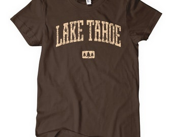 Women's Lake Tahoe T-shirt - S M L XL 2x - Ladies' California Tee, Nevada, Ski - 4 Colors