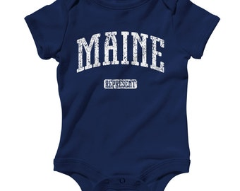 Baby One Piece - Maine Represent - Infant Romper - NB 6m 12m 18m 24m - Baby Shower Gift, Acadia, Augusta, Bangor, Portland, Mainer Baby, ME