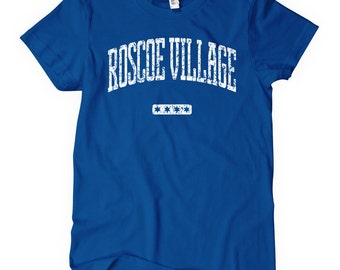 Women's Roscoe Village Chicago T-shirt - S M L XL 2x - Ladies' Roscoe Village Tee, Lakeview, North Side - 4 Colors
