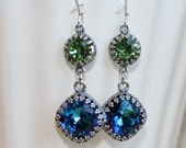 Seahawks Earrings, Crystal drop Earrings, Blue and green Swarovski Earrings, Seattle Seahawks