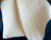 "A Vintage Modern 37"" X 37"" Whole Cloth Quilt In Pastel Thread For Baby"