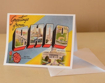 Ohio vintage Postcard Greeting Card