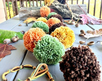 Fall Pom Pom Garland - Fall Leaf Colors - Pumpkin Orange + Nutmeg Brown  + Mustard Gold + Pine Green  - Fall Garland - Decoration 6 Ft.