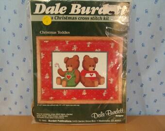Dale Burdett 1985 Counted Cross Stitch Kit Christmas Teddies