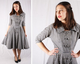 Vintage 1950s Checkered Black & White Dress / Size Medium