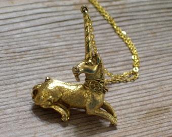 Gold Unicorn Locket, Vintage Unicorn Pendant, Corday Unicorn Perfume, Animal Jewelry, Figural Gold Plated Pendant Necklace, Fantasy Jewelry