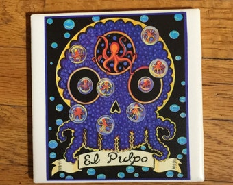 El Pulpo (The Octopus) Ceramic Tile Coaster -  Loteria and Day of the Dead skull Dia de los Muertos calavera designs