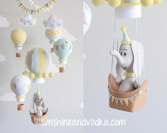 Elephant in a Hot Air Balloon, Baby Mobile, Aqua, Gray and Yellow, Nursery Decor, Travel Theme, Nursery Mobile, i151