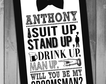 Groomsman Invitation Groomsmen Invitation Will You Be My Groomsman Funny Will You Be My Groomsman Tuxedo Card Suit Up Printable Wedding